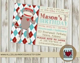 Sock Monkey Birthday Invitation - Digital or Printed!