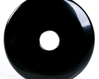 g2722  Black agate donut pendant focal bead 50mm