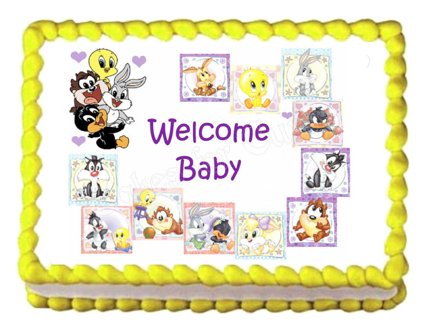 Baby shower baby looney tunes party decoration edible cake for Baby looney tune decoration