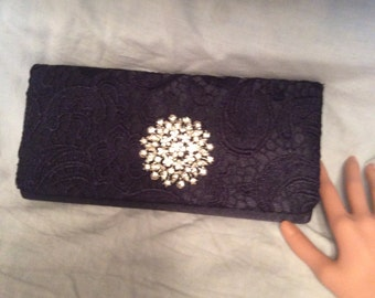 Navy Blue Satin and Lace Clutch, Evening Bag, Bridal Purse, Bridal Clutch Bag, Formal Clutch, Prom Bag