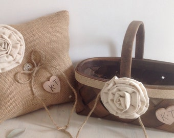 Rustic Flower Girl Basket Rustic Ring Bearer Pillow Set wood and burlap