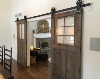 vintage custom sliding barn door with windows price is for one door