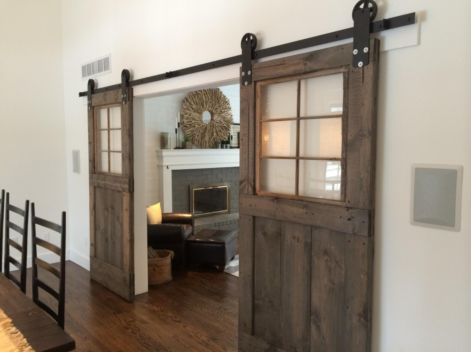 Vintage custom sliding barn door with windows price is for