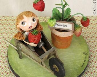 In the Garden: the strawberry, OOAK dolls