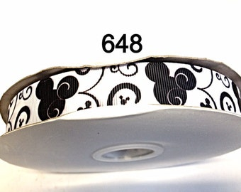 """3 or 5 yard - 7/8"""" Black Mickey Mouse with Black Swirl on White Grosgrain Ribbon Hair bow Craft Supply"""