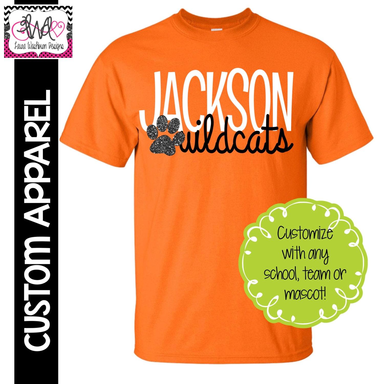 Custom apparel custom mascot sport and school name t shirt for Custom made sport shirts