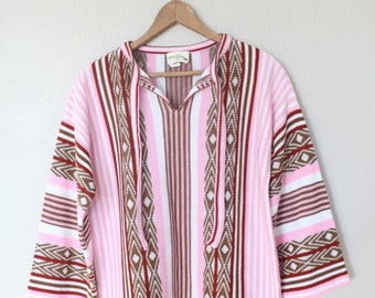vintage striped pink aztec native knit tunic sweater