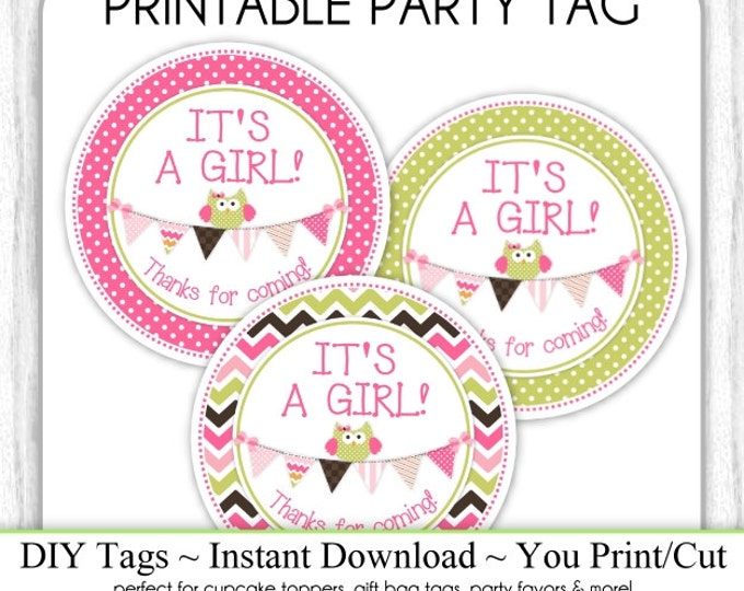 Instant Download - THREE Pack - It's A Girl Baby Shower Printable Party Tags, Owl Cupcake Toppers, Owl with Bunting, DIY, You Print, You Cut