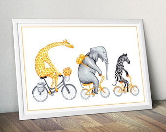 Giraffe, elephant and zebra on yellow bicycle print, cycling animals, 12 x 18 print