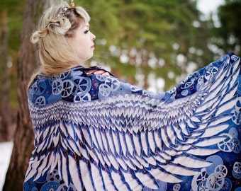 Wings Silk scarf,wrap sarong. Hand painted Silk Shawl 'Steampunk Wings'. Batik Hand painted Silk scarf.Luxury gift for her. Made to Order.