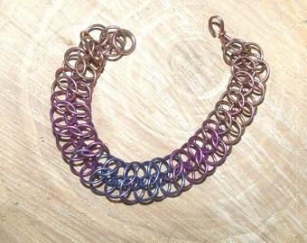 Niobium Chainmail Bracelet Multicolour Bracelet Niobium Bracelet Unique Bracelet OOAK Bracelet Hand Anodized Niobium Jewelry, Multicolour