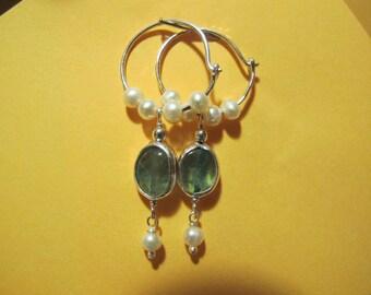 Apatite Hoop Earrings. Handmade Sterling Silver earrings set with Apatite and Peal gemstones. Delicate hoop earrings. Pearl beads.