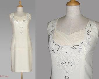 Vintage wedding dress, short, cream, embroidered