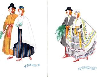 Unused postcard set from 50s - Latvian folk costumes - made in Latvia - artist Girta Vilka - Latvian Costumes - Piebalga, Vidzemes Vidiena