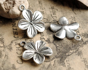 25 pcs of antique silver plum blossom   flower Charm Pendants 22x19mm