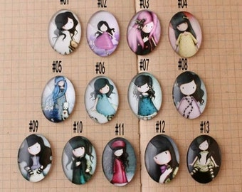 10pcs 18x25mm Oval Handmade Photo Glass Cabochon - girl