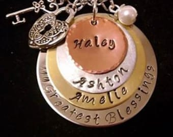 Mom - Grandma - Gift for her - Birthday - Personalized - Custom Made - Mother's Day -My Greatest Blessings 4 Layered Hand Stamped Necklace
