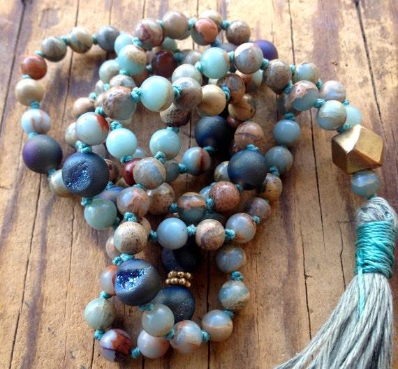 African Opal Mala Beads - Druzy Mala Beads - October Birthstone Jewelry - 108 Knotted Mala - Bohemian Mala - Meditation & Yoga Practice