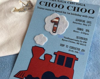 TRAIN BIRTHDAY - (30) Choo Choo Train Birthday Invitations, Customizable