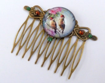 Hair comb with bird couple, flower hair comb, gift for her, summer hair comb, spring hair jewelry, colorful hair comb