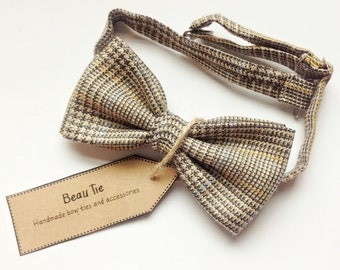 mens bow tie tweed wool, wool bow tie, tweed bow tie, brown bow tie, wedding