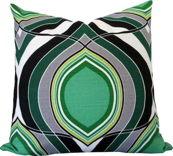 Items similar to Decorative Pillow Cover-HGTV-Green,Gray ,Black and Ivory Geometric-Throw Pillow ...