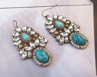Signature Collection Grand Luxor Teal Rhinestone Earrings