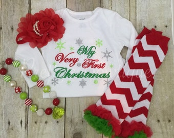 My Very First Christmas Set Shirt, Legwarmers, Headband, and Necklace.