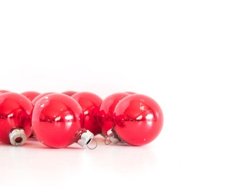Mid Century Red Small Glass Ball Ornaments (set of 15), Christmas Tree Ornaments