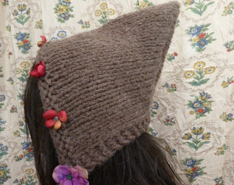 Forest pixie handknitted hat with flowers