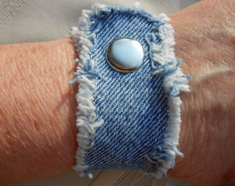 Frayed Denim Cuff Bracelet with metal snap closure in plain upcycled denim with frayed edges, wrist ornament - upcycled denim jewelry 154