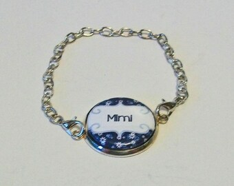 New Blue and White Floral Print Mimi Grandmother Silver Chain Fashion Bracelet 3 Sizes Available
