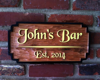 Bar or Pub sign - Made to order with your name - Personalized Custom Carved Bar Signs