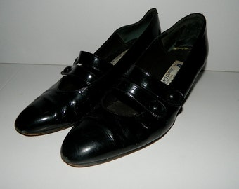Vintage 1980s Patent Leather Franco Visconti Made in Italy Shoes U.S. Size 8-1/2