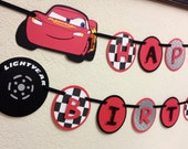 Cars Lighting McQueen and Mater Happy Birthday Banner - Lighting banner, Mater banner, Cars birthday decorations, Cars birthday banner