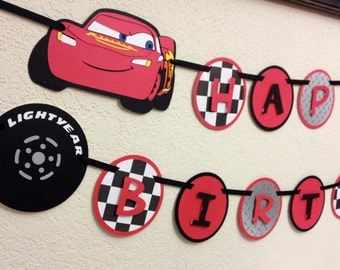 Cars Lighting McQueen and Mater Happy Birthday Banner