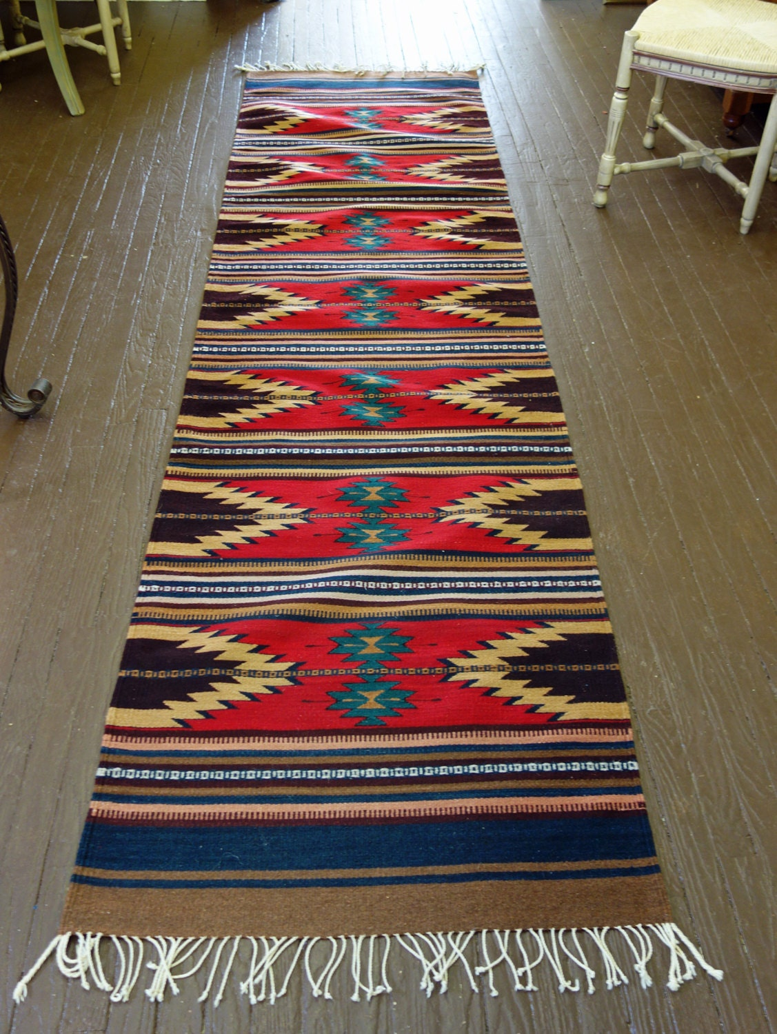 Mexican wool carpet extra long runner by curiofinds on etsy - Extra long carpet runners ...