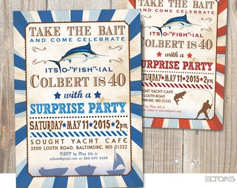 Fish Marlin Birthday Party Invitation /  Announcement with Fish Marlin / Bucks Fishing Weekend Invite / Printable
