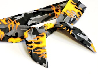 Camouflage Cooling Headband, Gray Hot Rod Flames Neck Cooler, Stay Cool Tie Wrap Body Head Heat Relief Cooling Bandana iycbrand