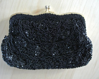 1960s Beaded Clutch Black Deco Party Cocktail Purse Handbag Handmade in Hong Kong