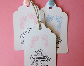 Baby Shower Tags, 12 Tags, Gift Tags, Baby, Favor Tags, Baby Footprints, Baby Shower, Baby Feet, Baby Tags, Baby Girl, Boy Baby, pink, blue
