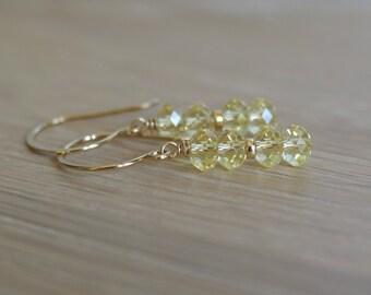 Swarovski jonquil elements dangle earrings, Swarovski elements jewelry, 14k gold fill ear wires, jewelry gift for her, bridal jewelry