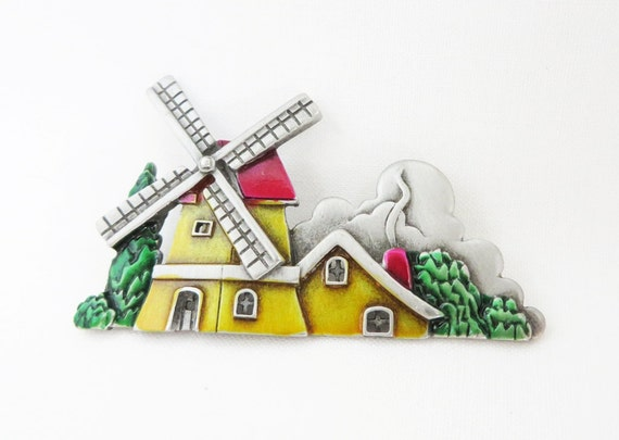 JJ PewterVintage Windmill Brooch, Yellow, Red, Green Enamel Dutch Windmill Pin