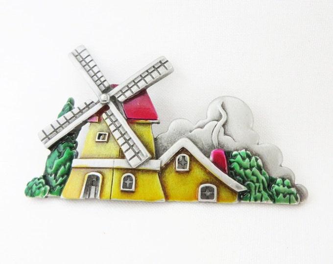 JJ PewterVintage Windmill Brooch, Yellow, Red, Green Enamel Dutch Windmill Pin
