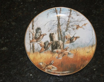 Disturbed by David Maass Collectors Plate-Game Birds Collection, Danbury Mint, Hunting, Autumn, Fall, Fowl, Urban Farmhouse (WTH-567)