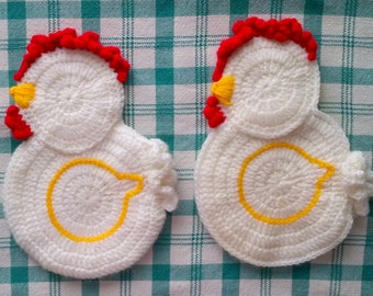 Pair of Handmade Crochet Rooster Chicken Pot Holders - Set of 2