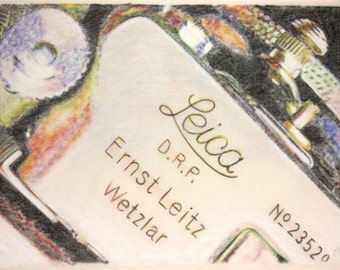 Original drawing of a Leica IIf camera, in charcoal and pastel on calico