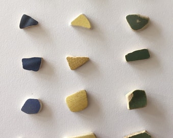 Blue Yellow Green Ceremic Shards 15 pc.