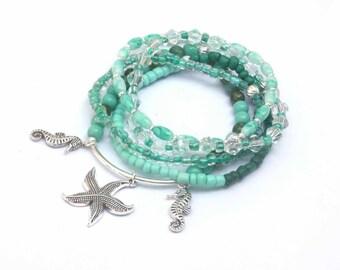starfish beaded bracelets, seahorse charm bracelet, beach bracelets, ocean jewelry, nautical jewelry, beachy bracelet, seahorse, beachy