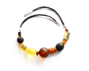 Unique amber multicolor healing necklace for women - Baltic amber necklace with multicolor beads - Handmade jewelry - 4645